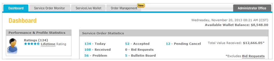 Bid Request Tab (For Sears Facilities Orders) | ServiceLive